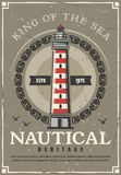 Nautical lighthouse or marine navigational beacon. Lighthouse nautical heritage vintage poster with marine beacon in frame of sailing ship chain and seagulls royalty free illustration