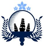 Nautical logo in blue tones Stock Photography