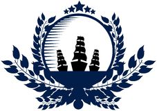 Nautical logo in blue tones Royalty Free Stock Image