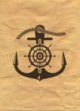 Nautical Logo on kraft paper background. Marine Label, Sea Badge Stock Image