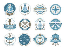 Nautical logo templates set. Nautical logos templates set. Vector object and icons. Marine labels, sea badges, anchor logo design, graphic emblems. Anchor and Royalty Free Stock Images