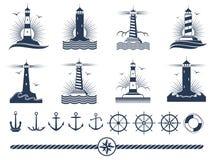 Nautical logos and elements set - anchors lighthouses rope royalty free illustration