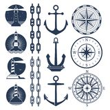 Nautical logos and elements set - compass lighthouses anchor chains stock illustration
