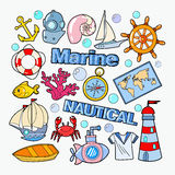 Nautical Marine Doodle with Fish, Boat and Submarine. Sea Vacation. Vector illustration Royalty Free Stock Photography