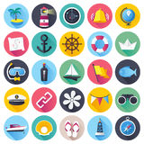 Nautical and Marine Flat Icon Set Stock Image