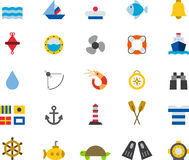 Nautical and marine icon set. Set of colorful flat icons relating to marine and nautical Stock Image