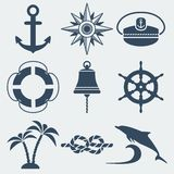 Nautical marine icons set Stock Image