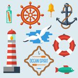 Nautical and marine icons. Vector illustration. Royalty Free Stock Photography