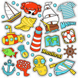 Nautical Marine Life Stickers, Badges, Patches Royalty Free Stock Image