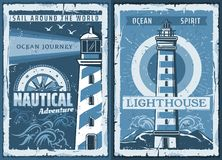 Nautical marine lighthouse retro posters. Nautical lighthouse vintage poster of seafarer marine safety sailing adventure. Vector retro ocean or sea beacon on royalty free illustration
