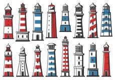 Nautical marine lighthouse, sea ligh beacon. Nautical lighthouse icons, seafarer marine safety sailing light beacon buildings. Vector sea navigator beacon towers stock illustration