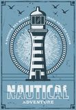 Nautical marine lighthouse tower, vector. Nautical lighthouse tower building vintage poster, marine adventure. Vector retro design or safe sail beacon on seaside stock illustration