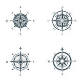 Nautical or marine old navigation compass. Sea or ocean vintage or retro wind rose for direction or longitude or. Latitude measure. May be used for cartography royalty free illustration