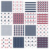 Nautical or marine seamless patterns Stock Photography