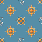 Nautical or marine themed seamless pattern with anchor and helm Royalty Free Stock Images