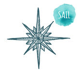 Nautical marine wind rose, compass icon for travel, navigation design. Hand drawn illustration for tattoo, print. Vector. Sketch in line art style on white Royalty Free Stock Photos