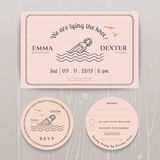 Nautical message in the bottle wedding invitation and RSVP card template set. On wood background Stock Photo