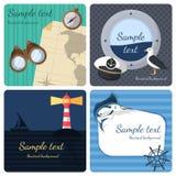 Nautical mini posters set Royalty Free Stock Photo