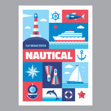 Nautical - mosaic poster with icons in flat design style. Vector icons set. Royalty Free Stock Image