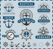 Nautical, Seafaring and Marine insignia logotype vintage. Nautical, Navigational, Seafaring and Marine insignia logotype vintage design with anchor, rope Royalty Free Stock Images