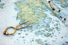Nautical Navigation Chart & Tools Stock Photo