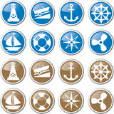 Nautical navigation icons Royalty Free Stock Image