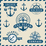 Nautical, Navigational, Seafaring and Marine insignia logotype. Vintage design with anchor, rope, steering wheel, compass | Only Free Font Used, Vector Stock Photos