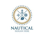 Nautical navy cruise vector logo design. Template Royalty Free Stock Images