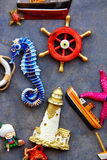Nautical objects. Nautical themed souvenir objects on display Royalty Free Stock Photos