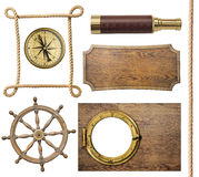 Nautical objects rope, compass, steering wheel Stock Images