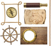 Nautical objects rope, map, compass, steering wheel and porthole 3d illustration royalty free illustration
