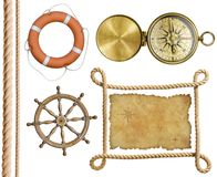 Nautical objects rope, treasure map, lifebuoy,. Compass, wheel isolated Stock Photography