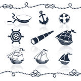 Nautical objects set Royalty Free Stock Images