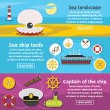 Nautical ocean banner horizontal set, flat style Royalty Free Stock Images