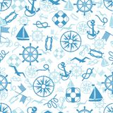 Nautical Or Marine Themed Seamless Pattern Stock Image