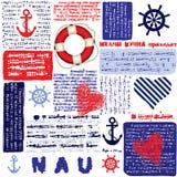 Nautical paper pattern. Seamless background pattern. Will tile endlessly. Nautical style pattern Stock Photo