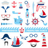 Nautical Party set. Photobooth props - glasses, hats, ships, mustaches, masks - in Royalty Free Stock Photo