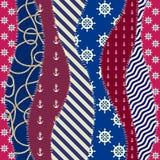 Nautical patchwork pattern Stock Photos