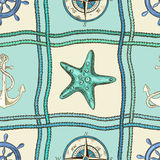 Nautical patchwork seamless pattern Royalty Free Stock Images
