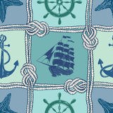 Nautical patchwork seamless pattern Stock Images