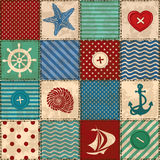 Nautical patchwork seamless pattern Royalty Free Stock Photography