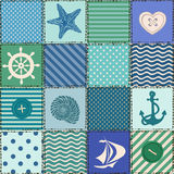 Nautical patchwork seamless pattern Royalty Free Stock Photos