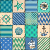 Nautical patchwork seamless pattern Stock Image
