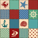 Nautical patchwork seamless pattern Stock Photography