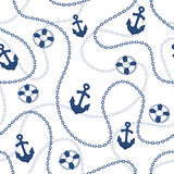 Nautical pattern. Marine seamless pattern. Anchors and chains background. Nautical cartoon background Royalty Free Stock Photo