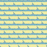 Nautical pattern, sailboats on waves. Summer background vector illustration