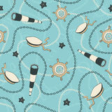 Nautical pattern. Sailor seamless pattern.Sea ship anchors and chains background Stock Photography