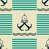 Nautical pattern of strips, waves, anchors, compasses Stock Photo