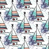 Nautical pattern yachts silhouette on wave. stock illustration