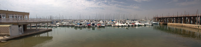 Nautical port. Stitched Panorama of torrevieja nautical port Royalty Free Stock Image
